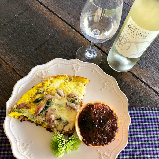 Frittata with Sausage, Estero Gold Cheese, Sausage and Asparagus paired with Prospect Cellars' Quick Silver Sauvignon Blanc